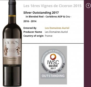 IWSC International Wine & Spirit Competition : Outstanding 2017 for 1ère Vignes Cicéron